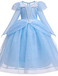 cheap -Princess Cinderella Dress Flower Girl Dress Girls' Movie Cosplay A-Line Slip Beaded Vacation Dress Blue / Pink Dress Halloween Carnival Masquerade Tulle Cotton