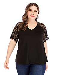 cheap -Women's Solid Colored Patchwork Lace Trims T-shirt Daily V Neck Black