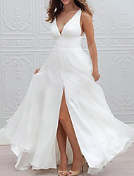 cheap -A-Line Wedding Dresses Plunging Neck Sweep / Brush Train Chiffon Taffeta Stretch Satin Sleeveless Country Plus Size with Ruched Split Front 2020