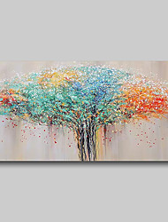 cheap -Oil Painting Hand Painted Abstract Comtemporary Modern Stretched Canvas Flowers Trees With Stretched Frame