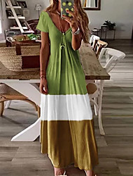 cheap -Women's Swing Dress Blue & White Maxi long Dress - Short Sleeves Color Block Basic V Neck Casual Boho Daily Holiday Loose Blue Red Green Brown Gray S M L XL XXL XXXL