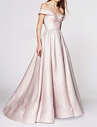 cheap -Ball Gown Off Shoulder Sweep / Brush Train Satin Elegant / Pink Engagement / Formal Evening Dress with Pleats 2020