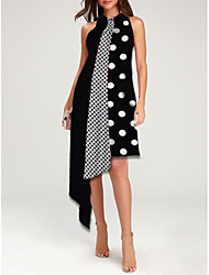 cheap -Women's Asymmetrical Black Dress Party Casual / Daily Summer Party Loose Polka Dot M L Loose