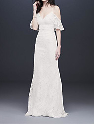 cheap -A-Line Wedding Dresses V Neck Floor Length Polyester Half Sleeve Country Plus Size with Embroidery 2020