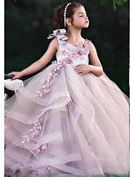 cheap -Ball Gown Floor Length Wedding Flower Girl Dresses - Tulle Sleeveless Jewel Neck with Tier / Appliques