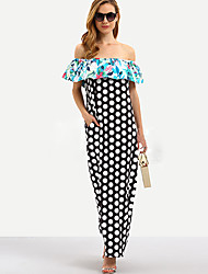 cheap -Women's Maxi Shift Dress - Long Sleeve Color Block Houndstooth Basic Strapless Boho Daily Going out Batwing Sleeve Black M L XL