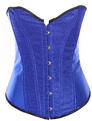Недорогие -женский корсет на шнуровке - сексуальный / блестящий блеск / мода, шнуровка / пряжка черный фиолетовый желтый s m l