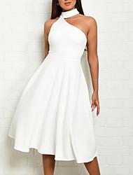 cheap -Women's Sheath Dress Midi Dress - Sleeveless Solid Colored Halter Neck Elegant Hot Slim White Red S M L XL