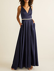 cheap -A-Line V Neck Floor Length Polyester Bridesmaid Dress with Sash / Ribbon / Pleats / Open Back