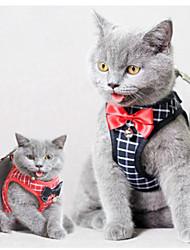 cheap -Cat Harness Leash Adjustable Soft Safety Plaid / Check Cotton Black / White Black 2pcs