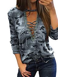 cheap -Women's Camo / Camouflage Print T-shirt Basic Daily V Neck Gray