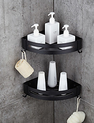 cheap -Bathroom Shelf Space Aluminum Brushed Black and Silvery Wall Mount Triangle Shower Corner Storage Rack Bath Accessories Single Layer