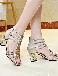 Недорогие -Жен. Обувь на каблуках На толстом каблуке Открытый мыс Полиуретан Лето Золотой / Серебряный