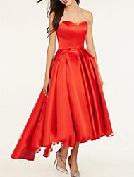 cheap -A-Line Sweetheart Neckline Asymmetrical Satin Bridesmaid Dress with Pleats / Open Back
