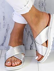cheap -Women's Sandals Wedge Sandals Flat Sandal Summer Wedge Heel Open Toe Daily PU Gold / Green / Silver