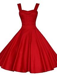 cheap -Women's Red Black Dress A Line Solid Color S M