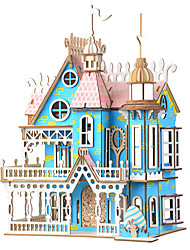 cheap -3D Puzzle Jigsaw Puzzle Dollhouse Famous buildings Furniture DIY Wooden Natural Wood Kid's Girls' Toy Gift