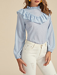cheap -New 2020 Women's Chiffon Polka Dot Ruffle Long Sleeve Blouse