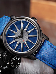 cheap -Men's Dress Watch Japanese Quartz PU Leather 30 m Water Resistant / Waterproof Day Date Analog Casual Cool - Blue Brown Black One Year Battery Life