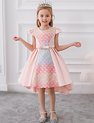 cheap -A-Line Ankle Length Party / Birthday Flower Girl Dresses - Mikado Sleeveless Jewel Neck with Bow(s) / Pleats