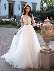 cheap -A-Line Wedding Dresses Bateau Neck Court Train Tulle Long Sleeve Country Plus Size with Lace Embroidery Appliques 2020