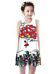 cheap -Kids Girls' Basic Cute Rose Rainbow Cartoon Letter Print Sleeveless Knee-length Dress Red