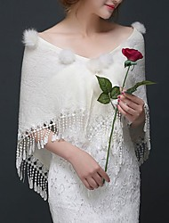 cheap -Short Sleeve Capes Poly&Cotton Blend Wedding Shawl & Wrap With Solid