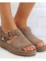 cheap -Women's Sandals Wedge Sandals Summer Wedge Heel Round Toe Daily PU Black / Khaki / Beige