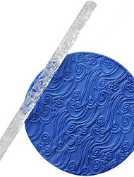 cheap -1pcs Fondant Transparent Carved Rolling Pin Ocean Wave Spray Non-stick DIY