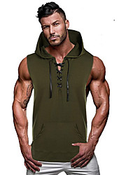 cheap -Men's Graphic Solid Colored Tank Top - Cotton Daily Hooded Black / Army Green / Gray / Sleeveless