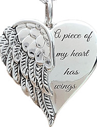 cheap -Women's Pendant Necklace Heart Letter Angel Wings Romantic Sweet Chrome Silver 46 cm Necklace Jewelry 1pc For Wedding Daily Promise