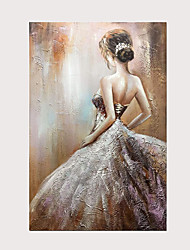 cheap -100% Hand Painted Wedding Dress Girl's Back View Oil Painting Modern Abstract Vertical Artwork Wall Art with Frame Ready to Hang With Stretched Frame