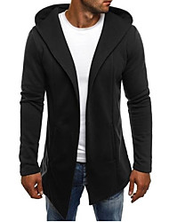 cheap -Men's Solid Colored Cardigan Cotton Long Sleeve Long Sweater Cardigans Hooded White Black Light gray