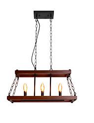 cheap -QINGMING® 3-Light 25 cm Island Design Pendant Light Metal Wood / Bamboo Geometrical Painted Finishes Artistic / Vintage 110-120V / 220-240V