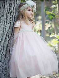 cheap -Ball Gown Floor Length Party / Wedding Flower Girl Dresses - Satin / Taffeta / Tulle Short Sleeve Scoop Neck with Bow(s) / Solid