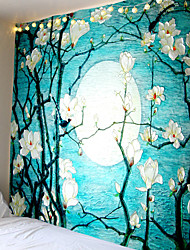 cheap -Wall Tapestry Art Decor Blanket Curtain Picnic Tablecloth Hanging Home Bedroom Living Room Dorm Decoration Van Gogh Oil Painting Style Blossom Floral Flower Moon