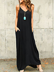 cheap -Women's Tunic Maxi long Dress - Sleeveless Solid Color Hot White Black Red Light gray S M L XL