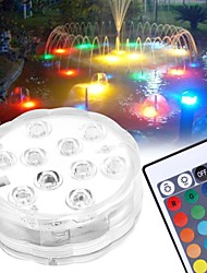 cheap -10 LED Submersible Lights Remote Controlled RGB Changing Underwater Waterproof Lights for Pond Pool Fountain Aquarium Vase Hot Tub Bathtub Party Decor Lighting 1PCS