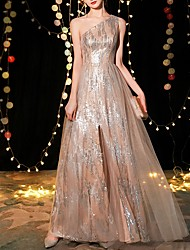 cheap -A-Line Sparkle Gold Engagement Prom Dress One Shoulder Sleeveless Floor Length Polyester with Sequin 2020