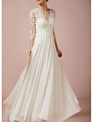 cheap -A-Line Wedding Dresses V Neck Floor Length Lace Half Sleeve Country Plus Size with Lace Insert Appliques 2020