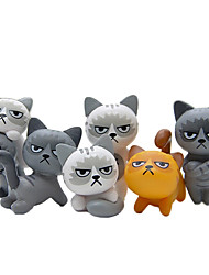 cheap -6Pcs Lovely Unhappy Angry Cats Action Figure Toy Room Decoration Kids Toy