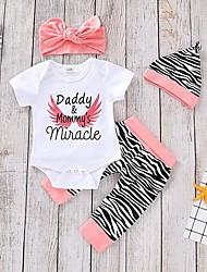 cheap -Baby Girls' Active Basic Print Print Short Sleeve Regular Regular Clothing Set White