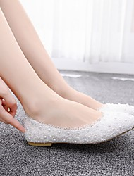 cheap -Women's Flats Flat Heel Pointed Toe Imitation Pearl / Satin Flower Lace / PU Sweet / Minimalism Spring & Summer / Fall & Winter Pink / White / Wedding / Party & Evening