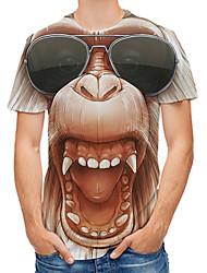 cheap -Men's Tee T shirt 3D Print Graphic 3D Orangutan Plus Size Print Short Sleeve Daily Tops Rock Streetwear Yellow Blushing Pink Gold
