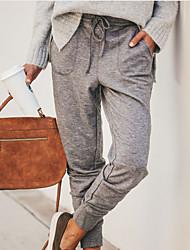 Недорогие -женские уличные шикарные брюки чинос - клетчатый / клетчатый серый хаки xl xxl