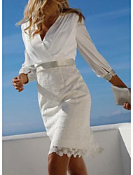 cheap -Sheath / Column Mother of the Bride Dress Elegant V Neck Short / Mini Chiffon Lace 3/4 Length Sleeve with Sash / Ribbon Ruching 2020