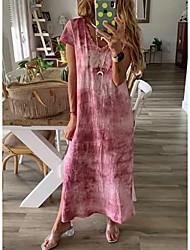 cheap -Women's Shift Dress - Short Sleeves Print Tie Dye Spring & Summer V Neck Casual 2020 Blushing Pink L XL XXL