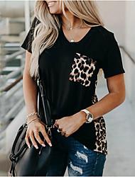 cheap -Women's Geometric Patchwork Print T-shirt - Cotton Daily Black