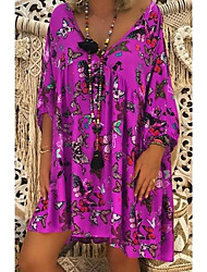 cheap -Women's Shift Dress - 3/4 Length Sleeve Print V Neck Black Blue Purple Red Green S M L XL XXL XXXL XXXXL XXXXXL