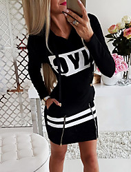 cheap -Women's Sheath Dress - Long Sleeve Solid Colored Print Sporty Daily Wear Black Red Gray S M L XL